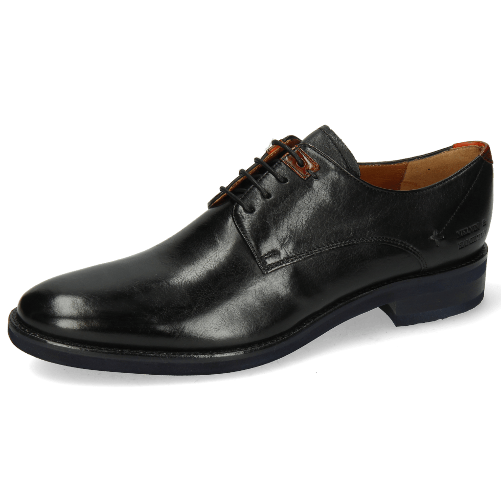 Derby Schuhe Clint 1 Imola Black Deco Pieces Orange