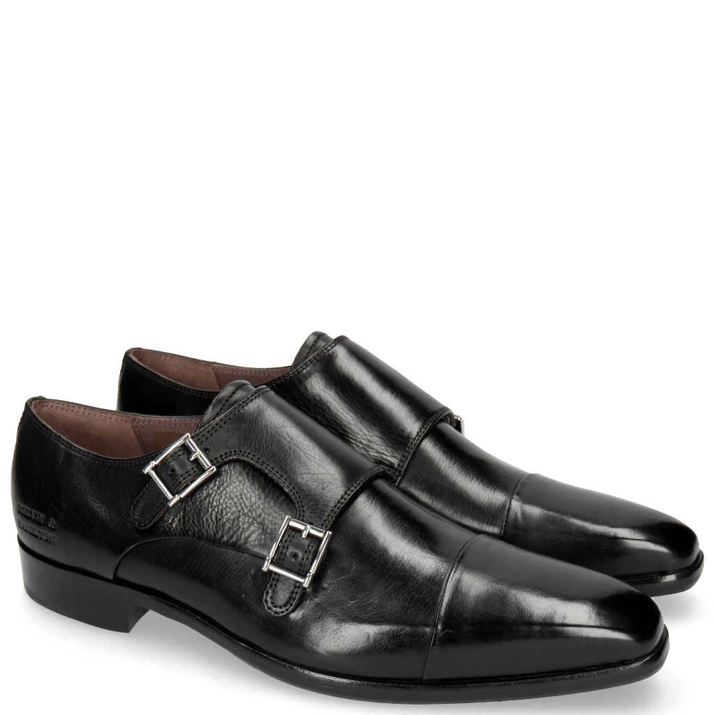Monk Schuhe Lance 1 Black Purple Lining