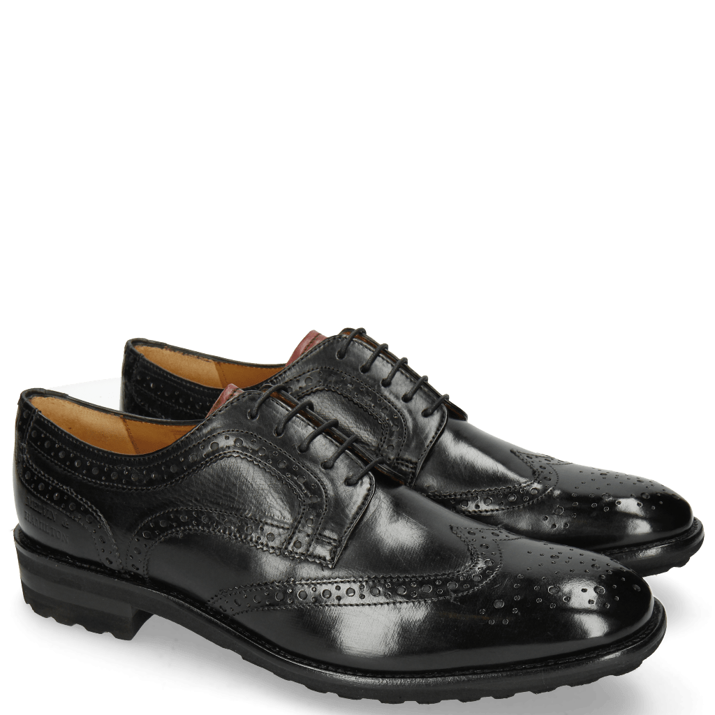 Derby Schuhe Eddy 30 Black Tongue Red