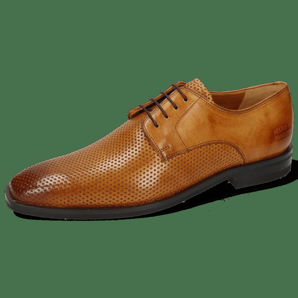 Derby Schuhe Alex 1 Berlin Perfo Tan