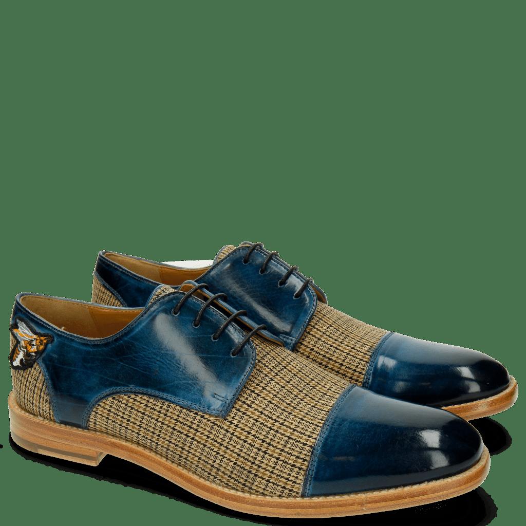 Derby Schuhe Eddy 11 Textile New England Mid Blue