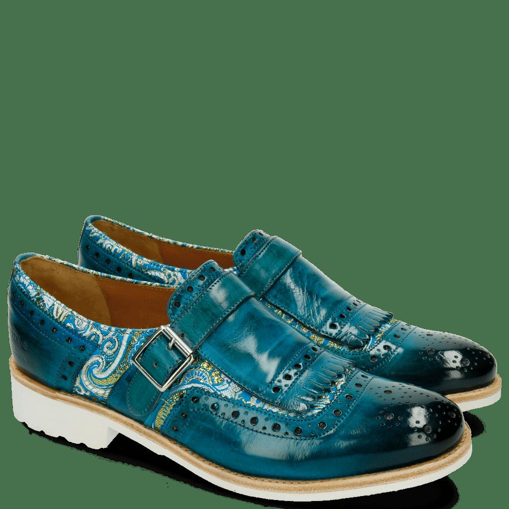 Monk Schuhe Amelie 42 Textile Vintage Turquoise