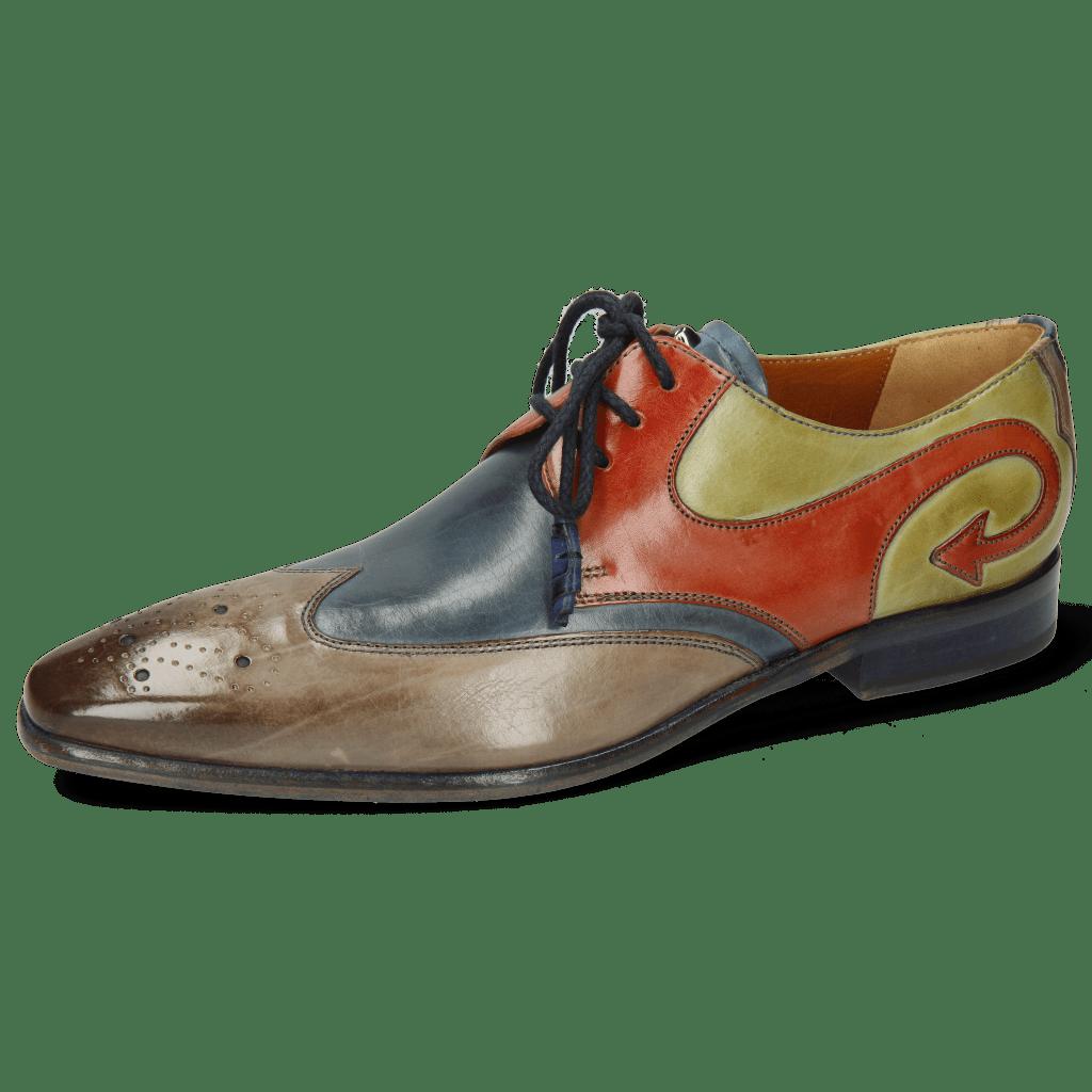 Derby Schuhe Elvis 63 Digital Wind Earthly Mid Green
