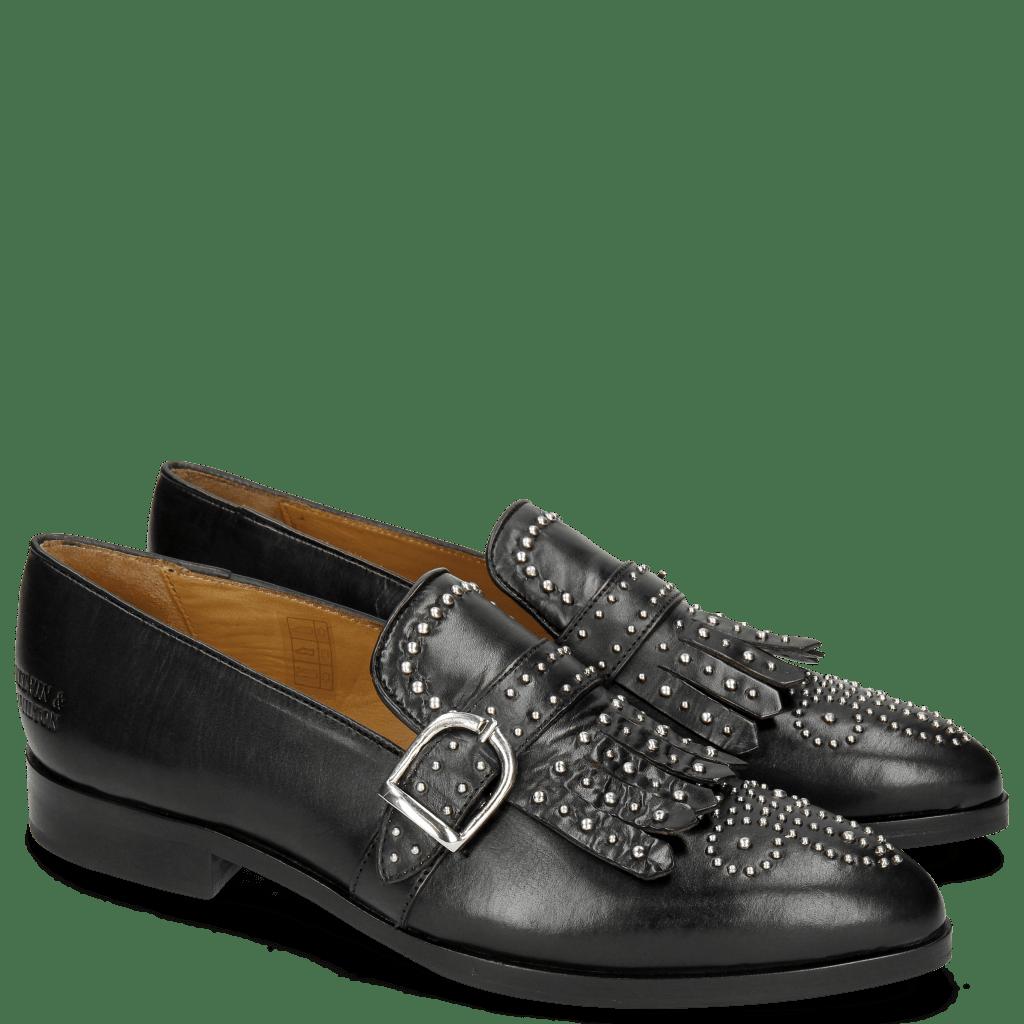 Loafers Jessy 26 Black Rivets Buckle