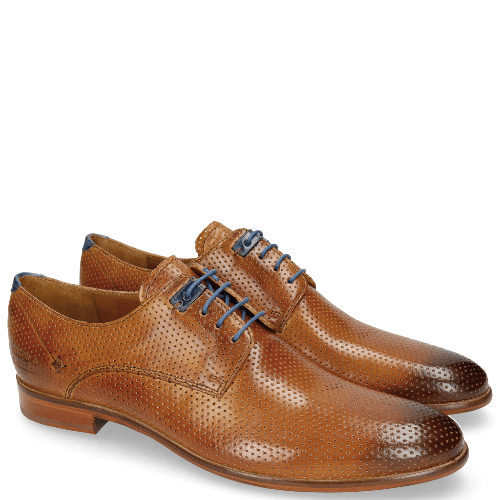 Derby Schuhe Clint 1 Perfo Tan Decor Piece Electric Blue