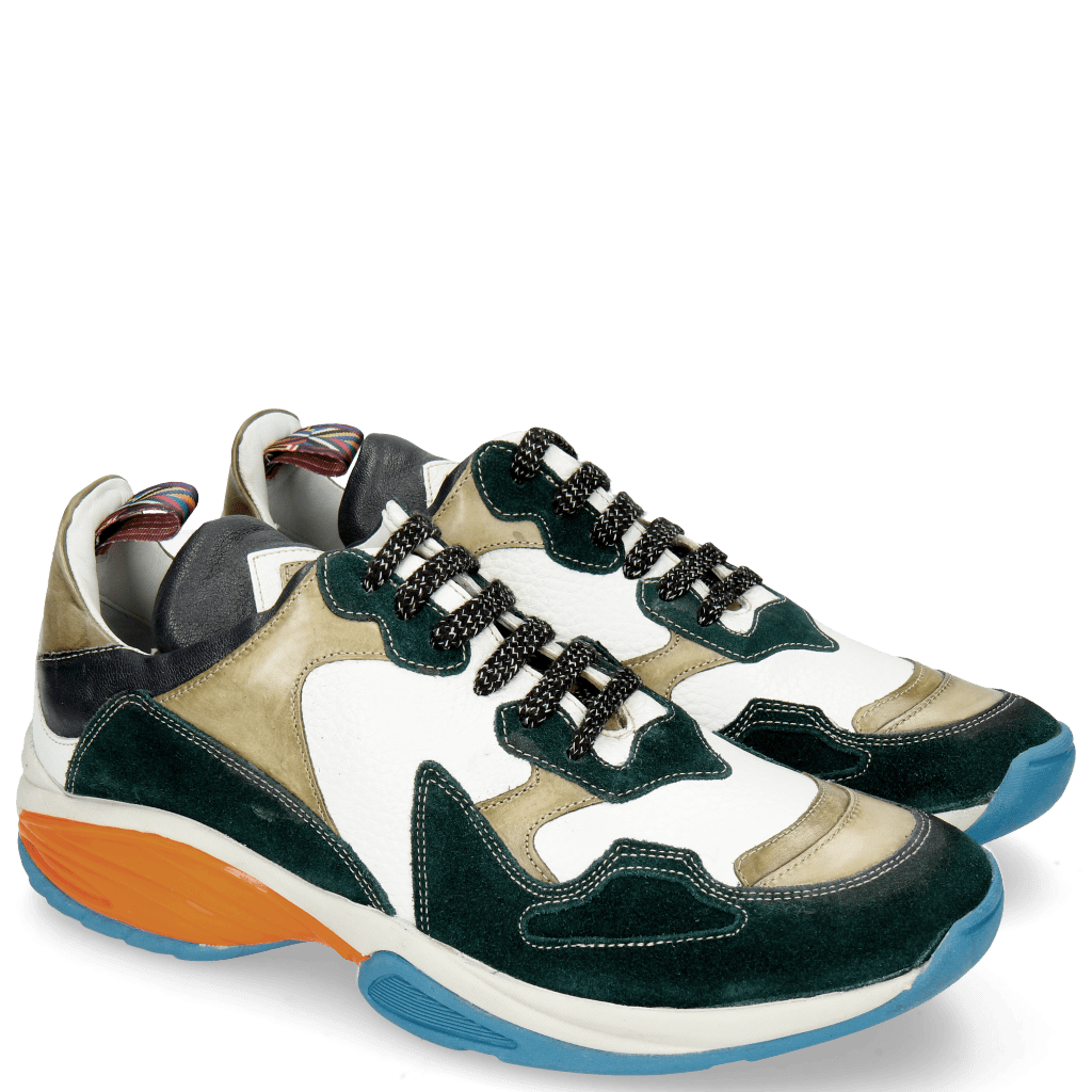 Sneakers Flo 1 Suede Pattini Verde Milled White Olive Stretch Nappa Navy