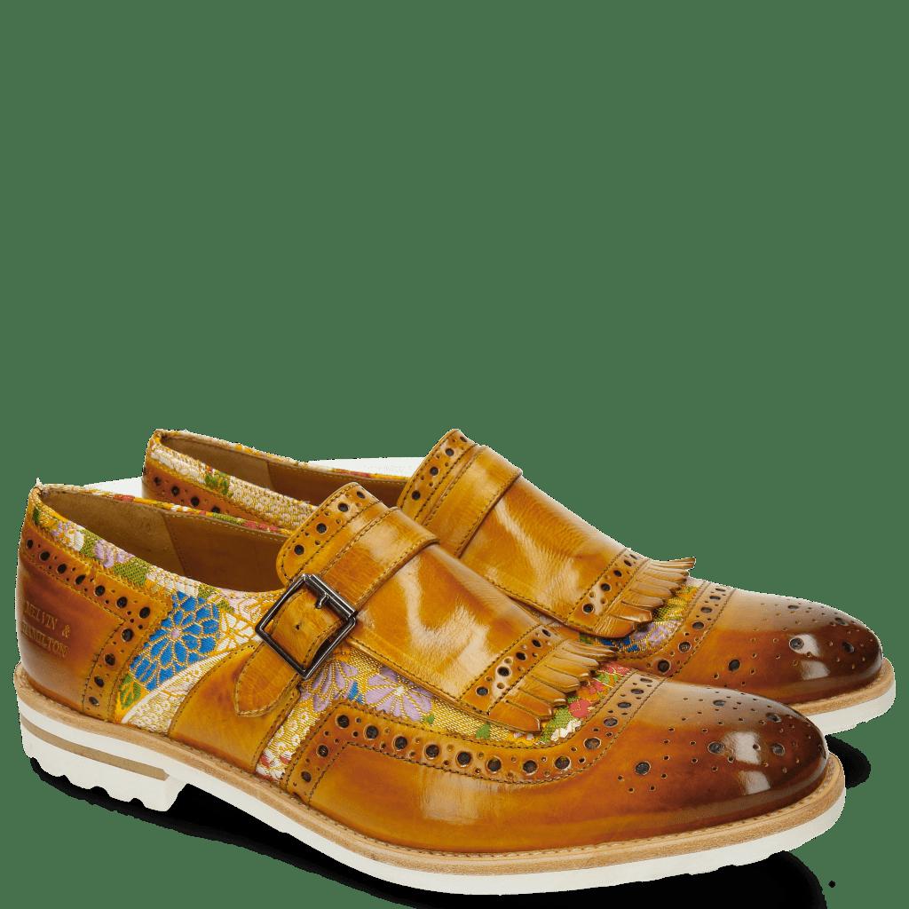 Monk Schuhe Eddy 1 Textile Glory Yellow Mandarine