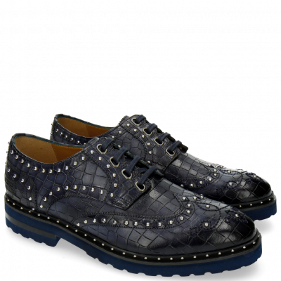 Derby Schuhe Matthew 14 Crock Navy Rivets