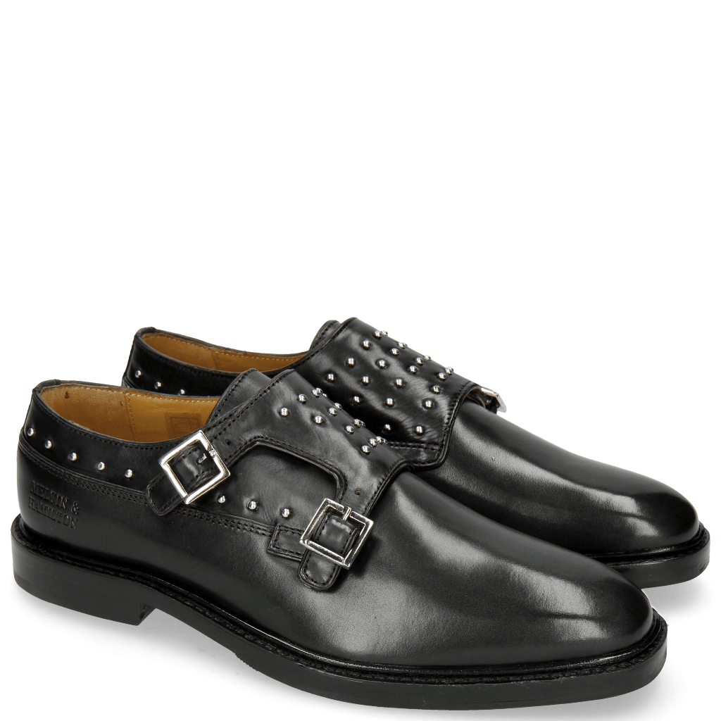 Monk Schuhe Katrin 1 Black Rivets Nickel