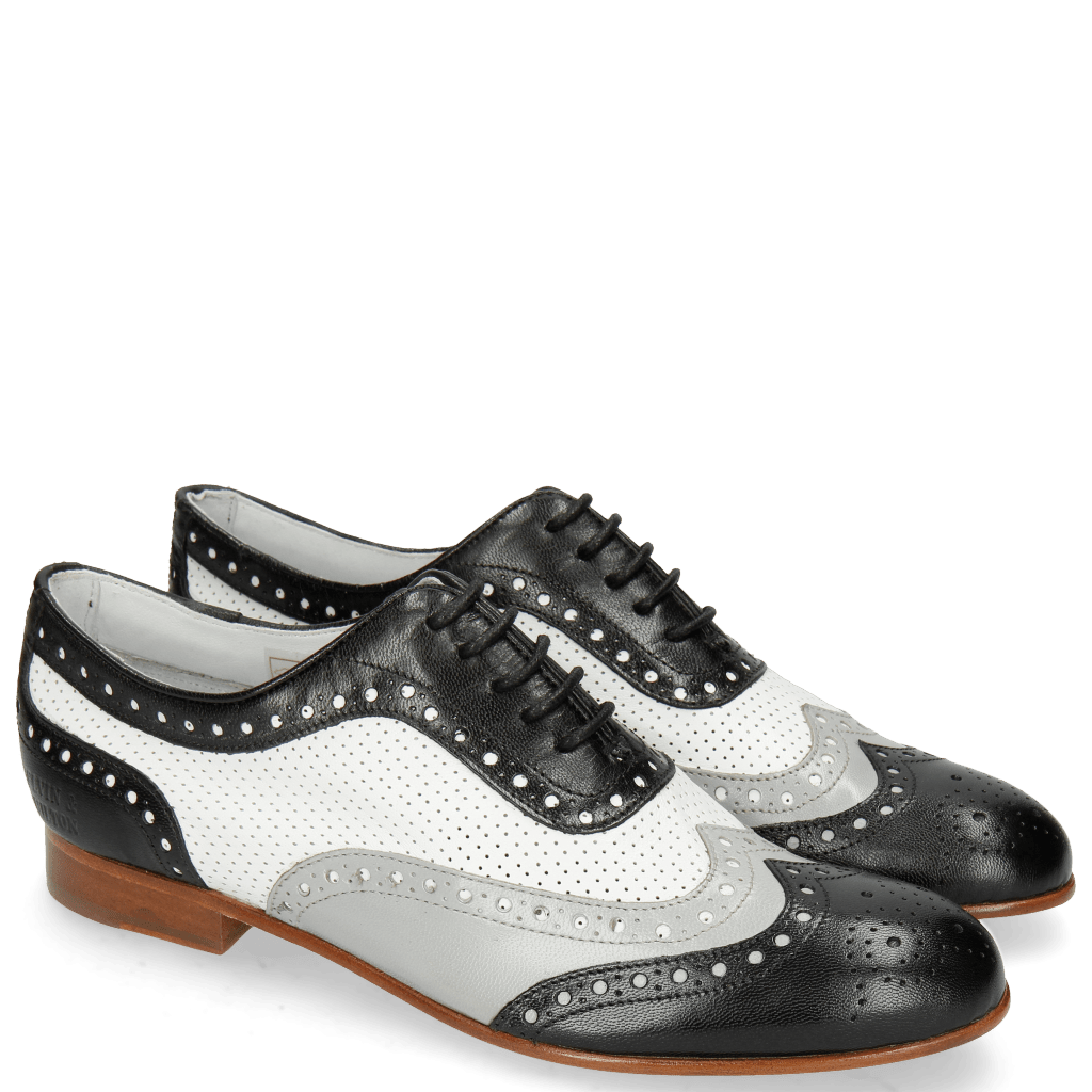 Oxford Schuhe Sally 97 Salerno Black French Grey Nappa Perfo White