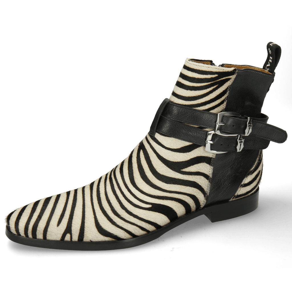Stiefeletten Elvis 45 Hairon Zebra Black White