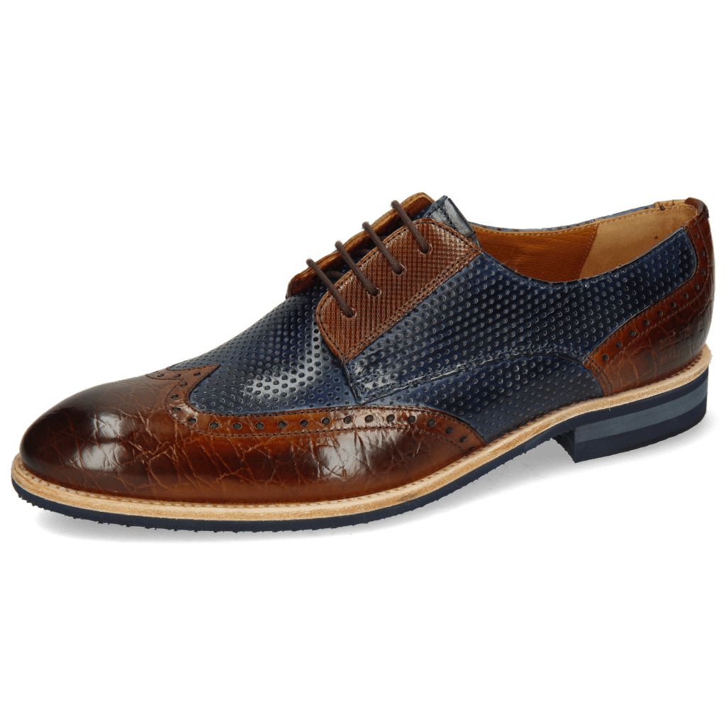 Derby Schuhe Bobby 1 Croco Wood Perfo Marine Dice