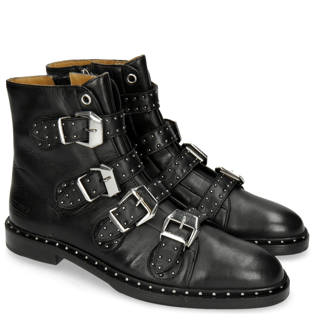 Stiefeletten Susan 44 Nappa Black Cream Finising Black Rivets