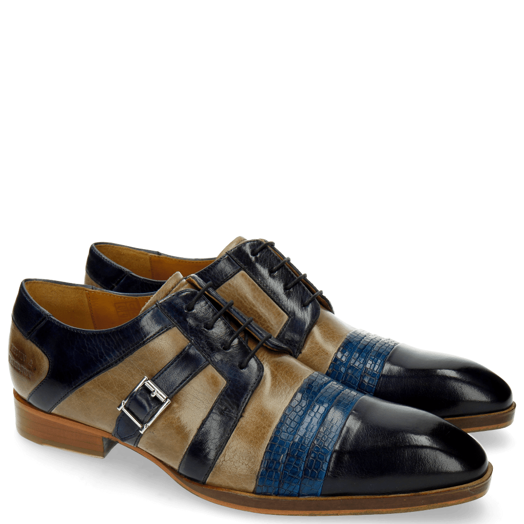 Derby Schuhe Ricky 2 Skink Navy Pop Blue Marble