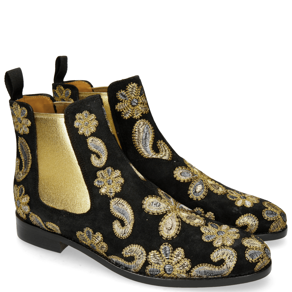 Stiefeletten Roberta 8 Lima Black Embrodery Paisley