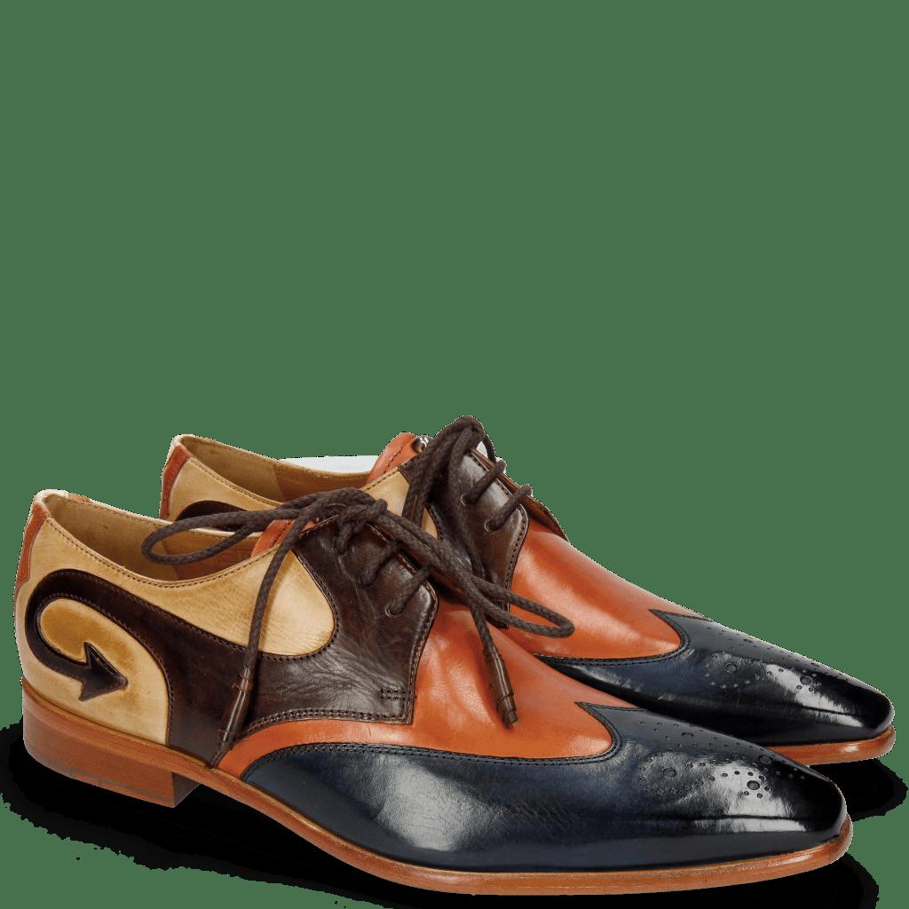 Derby Schuhe Elvis 63 Navy Electric Orange Dark Brown Nude