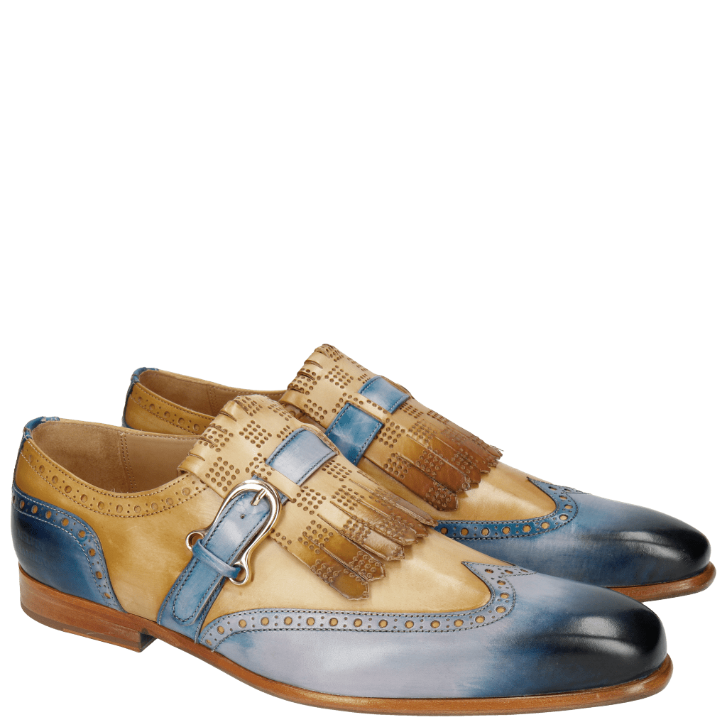 Monk Schuhe Lance 29 Electric Blue Perfo Sand