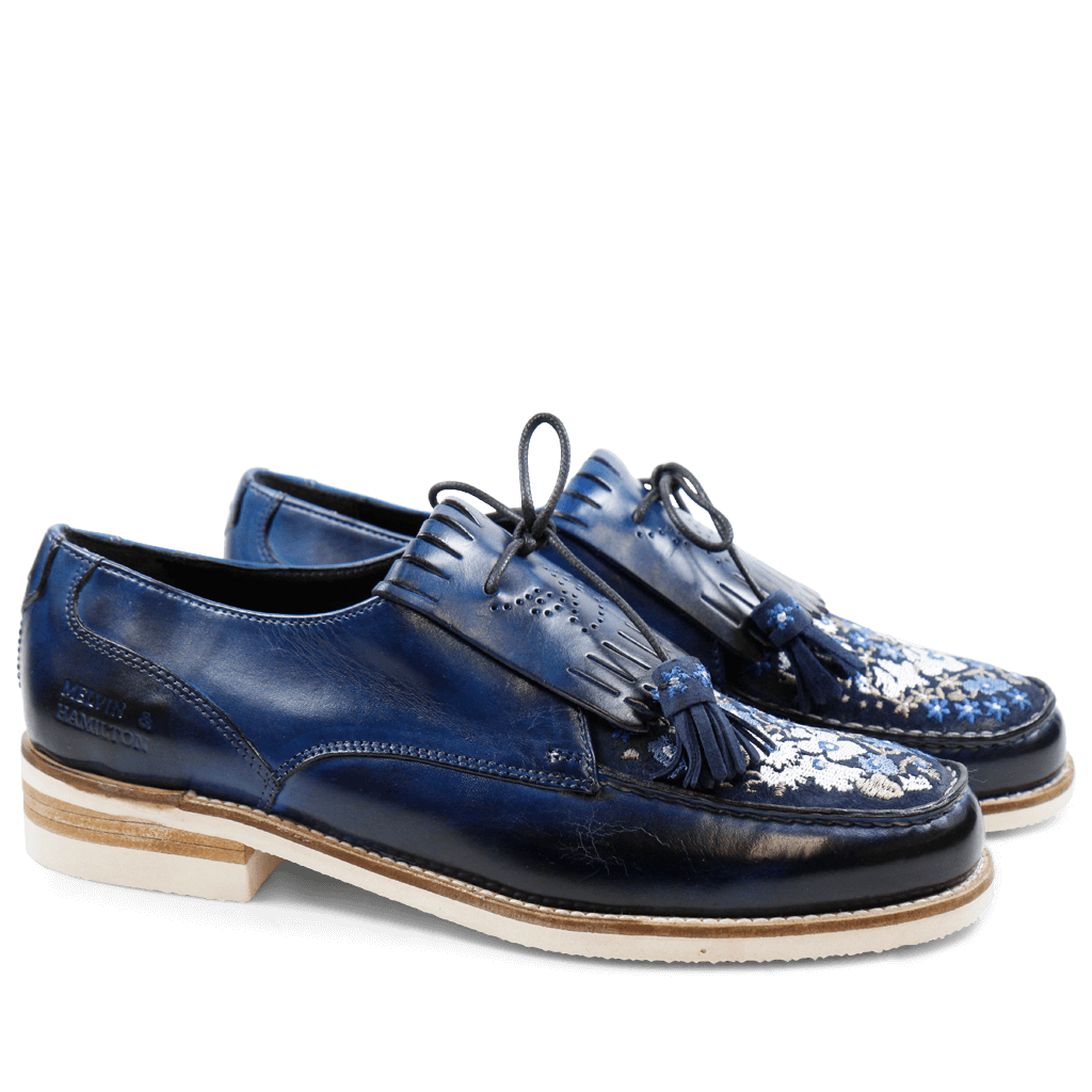 Loafers Kelly 9  Baby Brio E-Blue Suede Navy Embroidery Modica White