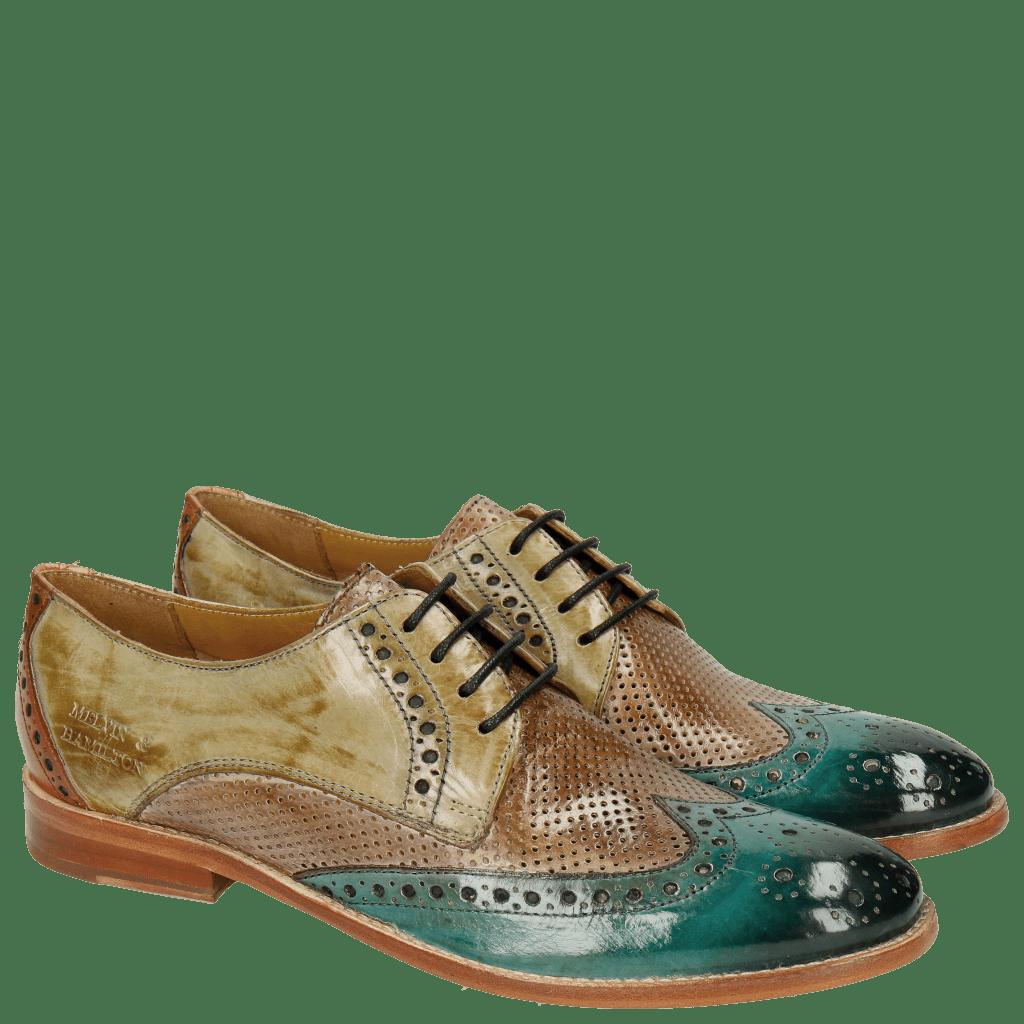 Derby Schuhe Amelie 3 Sweet Water Perfo Powder Verde Chiaro Arancio