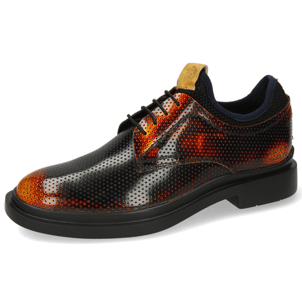 Derby Schuhe Ron 1 Brush Off Perfo Yellow Orange Black