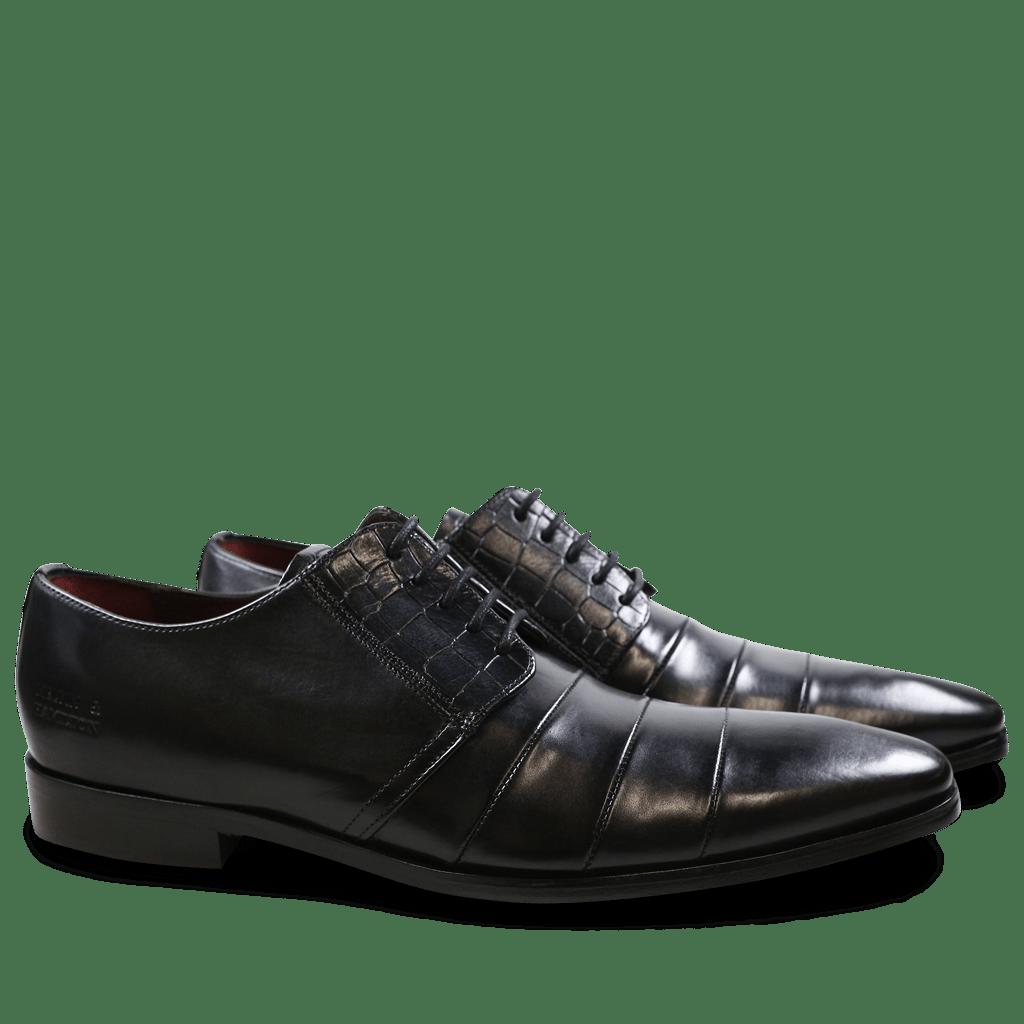 Derby Schuhe Elvis 29 Crust Crock Black Washed Black Washed LS Black