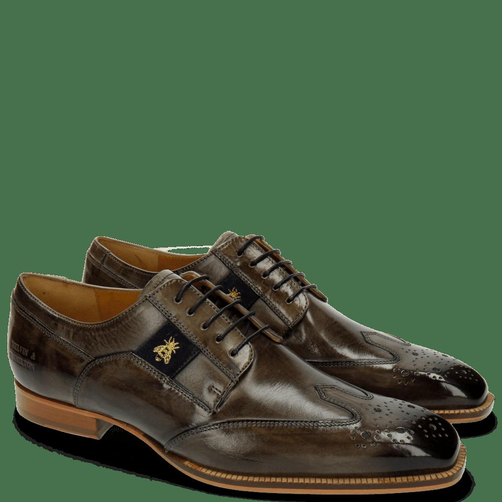 Derby Schuhe Woody 6 Smoke Strap Suede Navy Bee