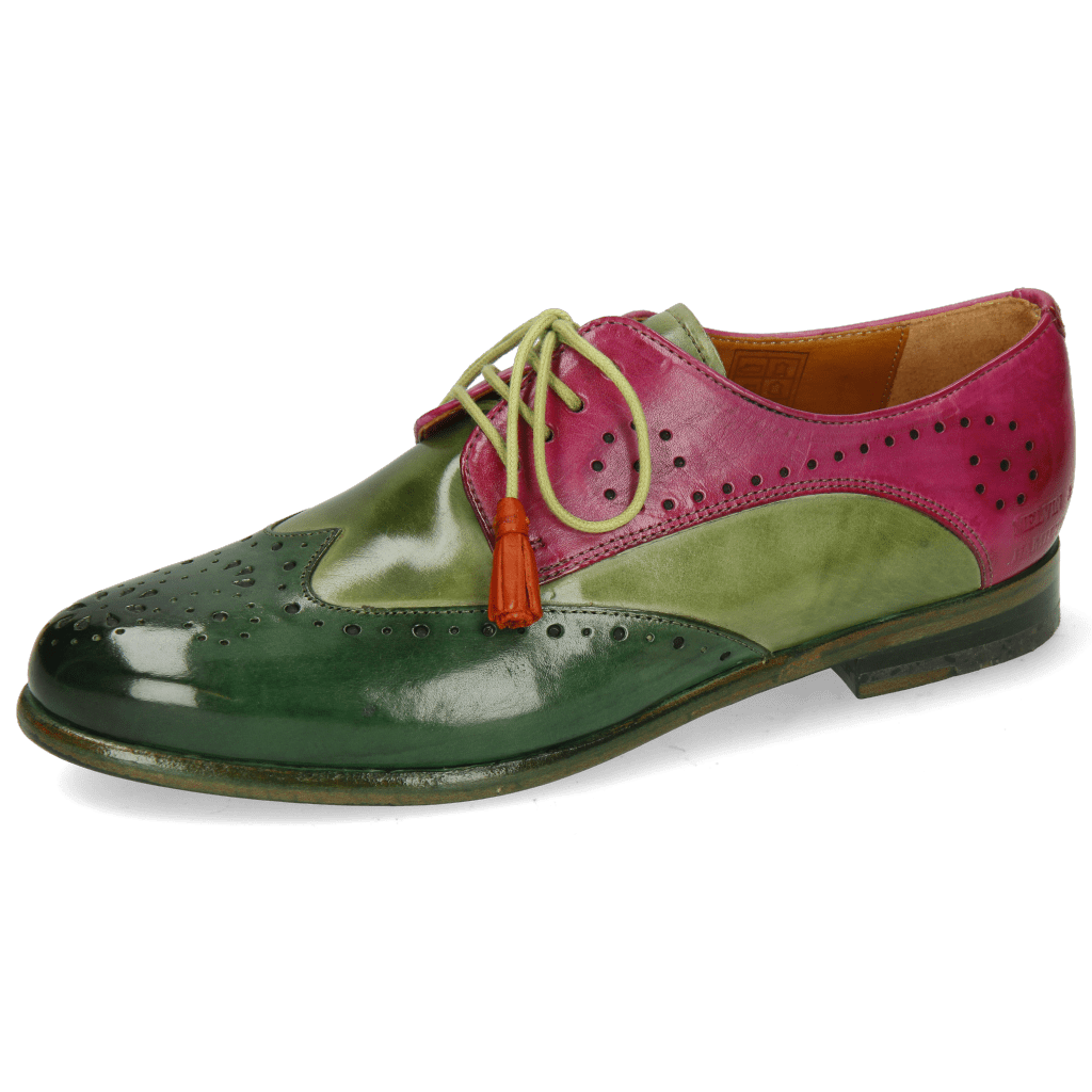 Derby Schuhe Selina 41 Dark Forest New Grass Dark Pink