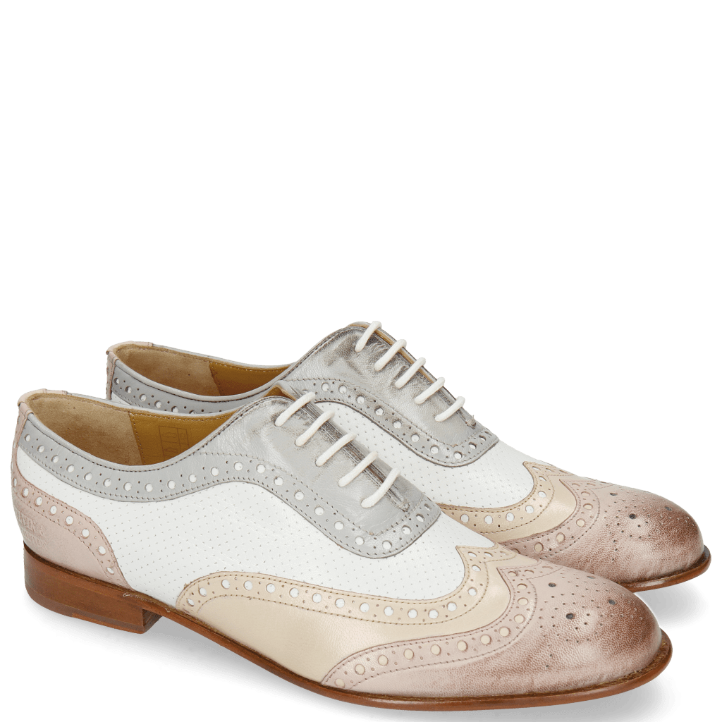Oxford Schuhe Sally 97 Salerno Pale Rose Nude Nappa Perfo White French Grey