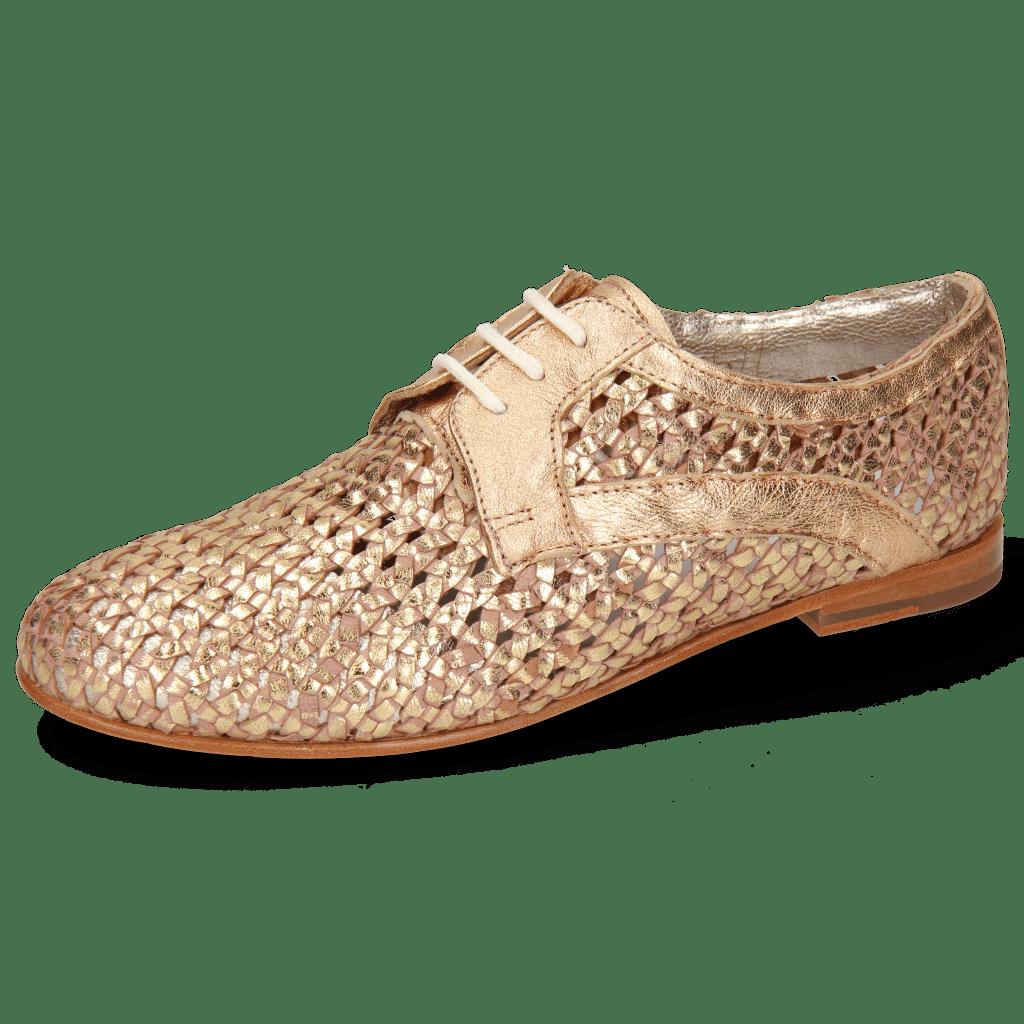 Derby Schuhe Monica 1 Woven Rose Gold
