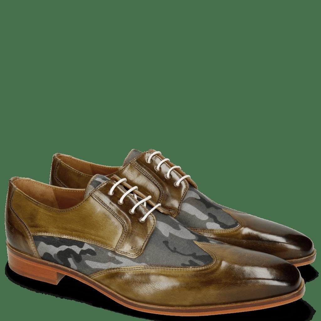 Derby Schuhe Lance 9 Olive Textile Camo Salvia