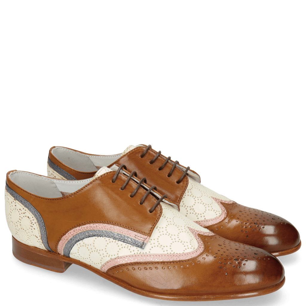 Derby Schuhe Sally 15 Tan Grafi Rose Gold Perfo Nude Silver Blue