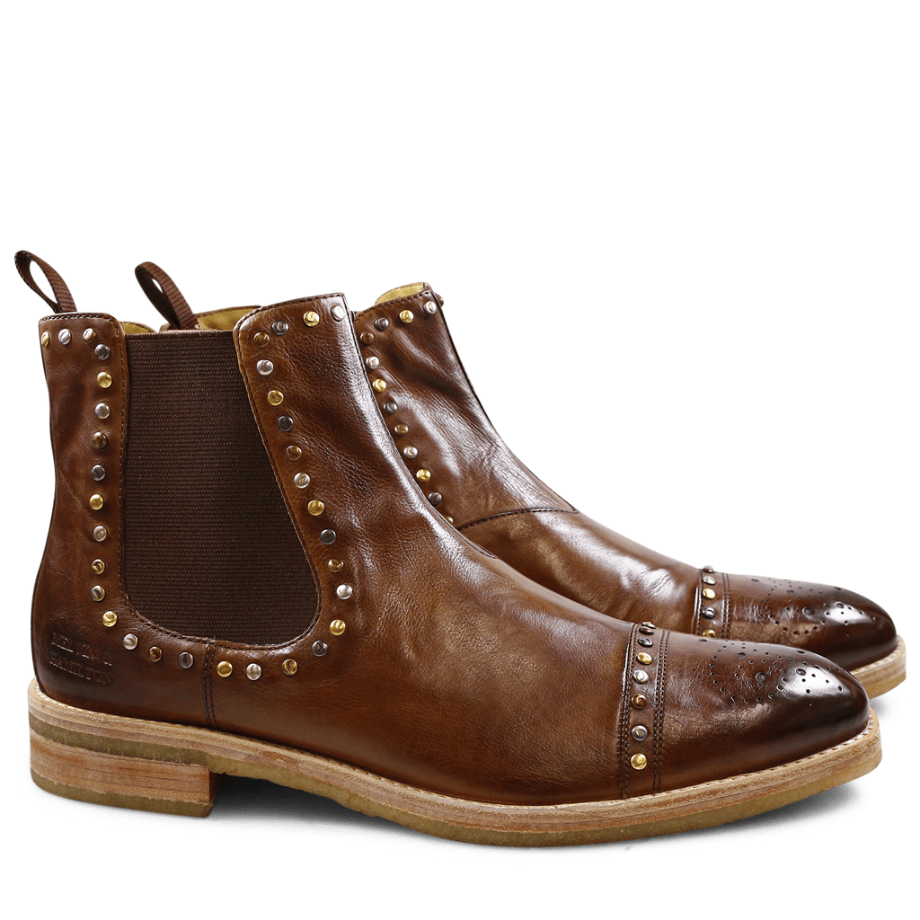 Stiefeletten Tom 1 Milano Tobacco Mixed Rivets Elastic Mid Brown Crepe Natural