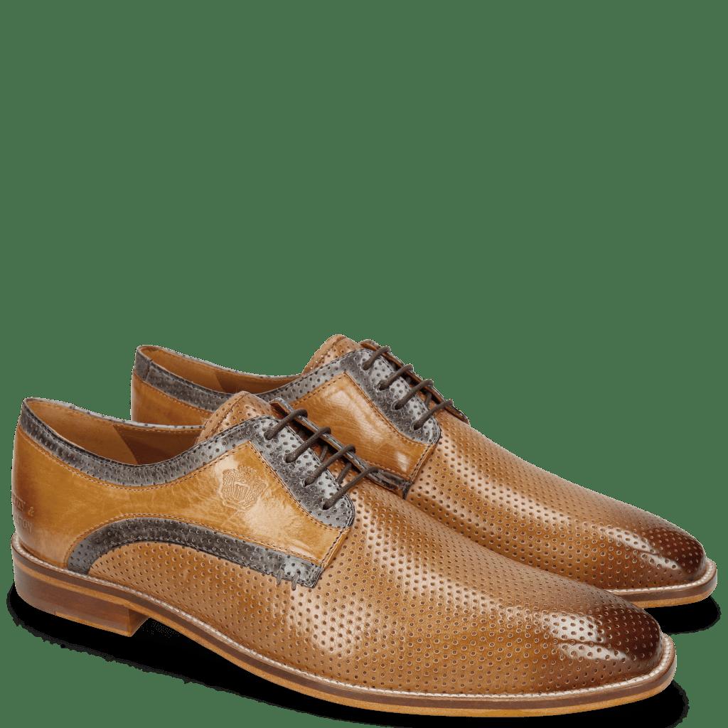 Derby Schuhe Alex 10 Berlin Perfo Nougat Moroccan Blue Sand