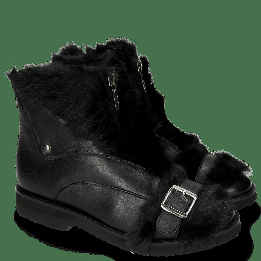 Stiefeletten Greta 4 Nappa Black Fur Long Black