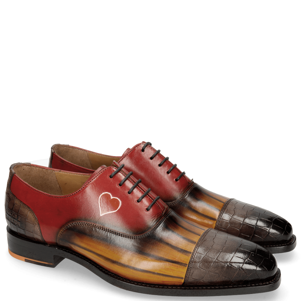 Oxford Schuhe Kylian 1 Crock Stone Ocra Lines Stone Red