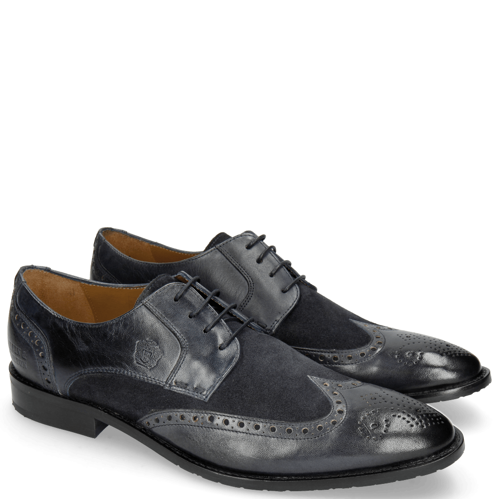 Derby Schuhe Victor 2 Rio Navy Suede Pattini Navy
