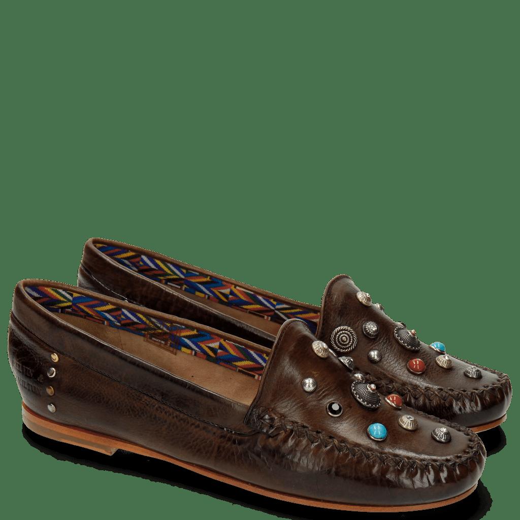 Loafers Bridget 1 Milano Dark Brown Rivets