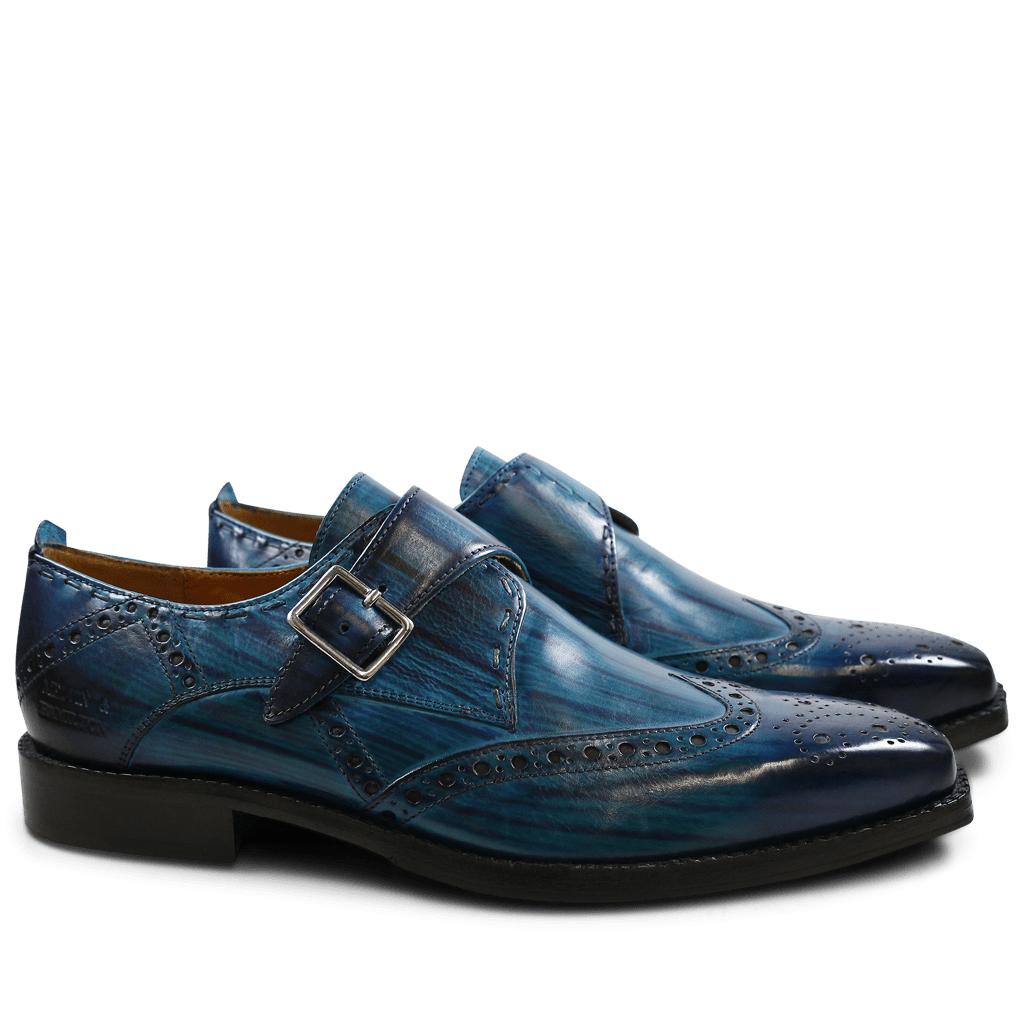 Monk Schuhe Nicolas 2 Ice Blue Shade & Lines Navy HRS