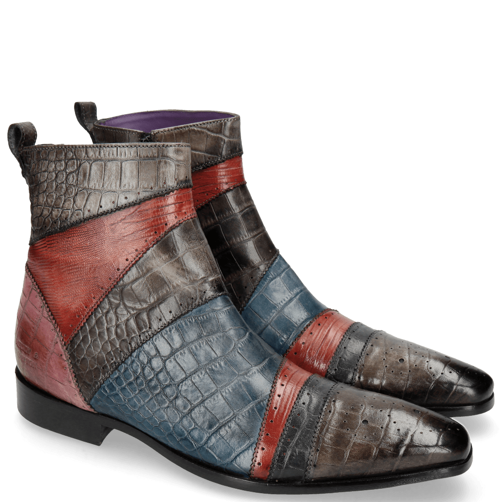 Stiefeletten Elvis 26 Big Croco Stone Fuxia Guana Red Navy