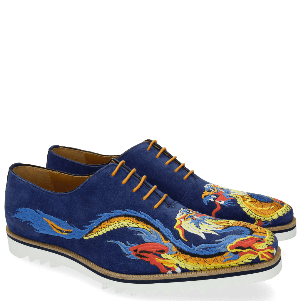Oxford Schuhe Clark 25 Suede Mid Blue Embrodery Dragon