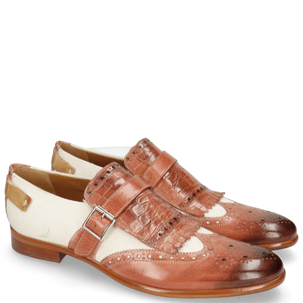 Monk Schuhe Clint 26 Earthly Canvas Off White Crock Natural