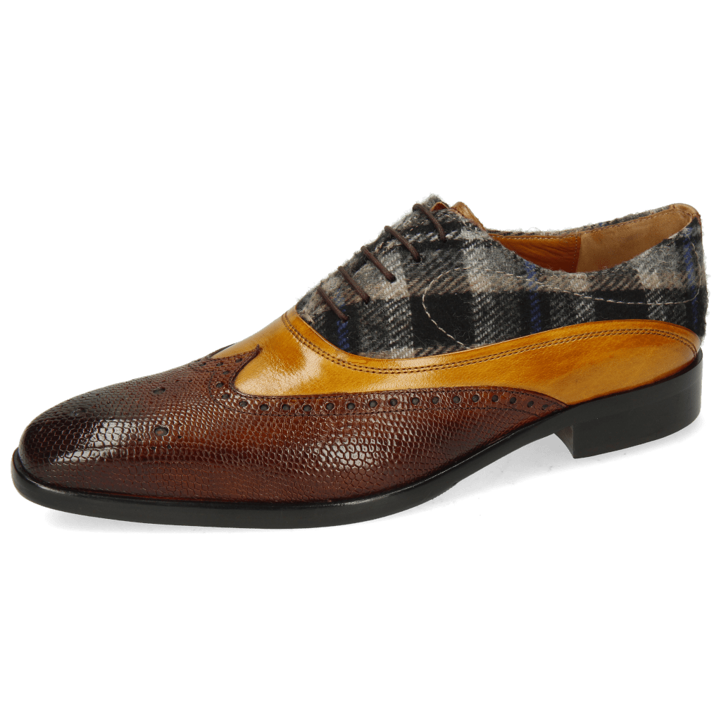 Oxford Schuhe Lewis 4  Python Wood Indy Yellow Textile Crayon