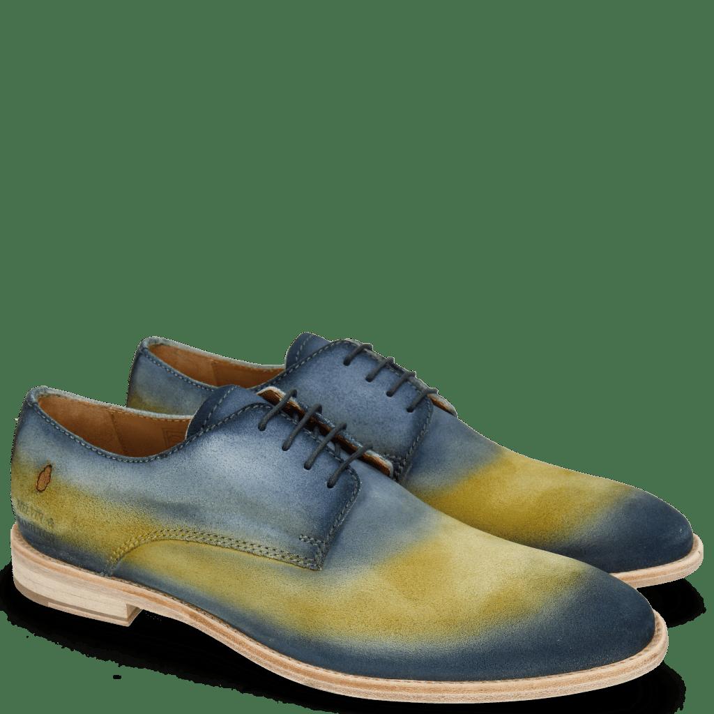 Derby Schuhe Ryan 3 Suede Pattini Jute Shade Navy Yellow