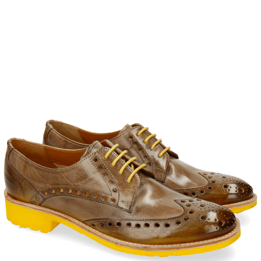 Derby Schuhe Amelie 6 Light Grey Shade Yellow