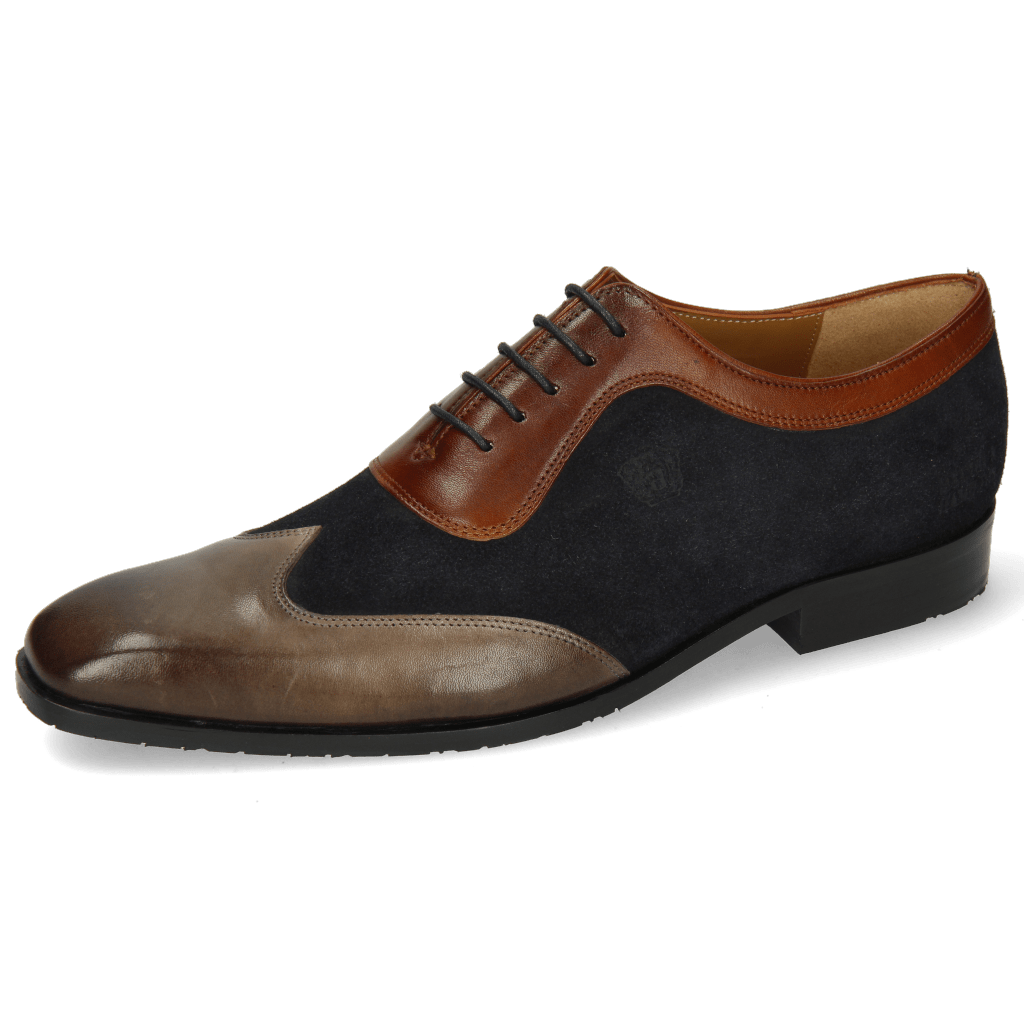 Oxford Schuhe Rico 8 Rio Stone Suede Pattini Perfo Navy Mid Brown