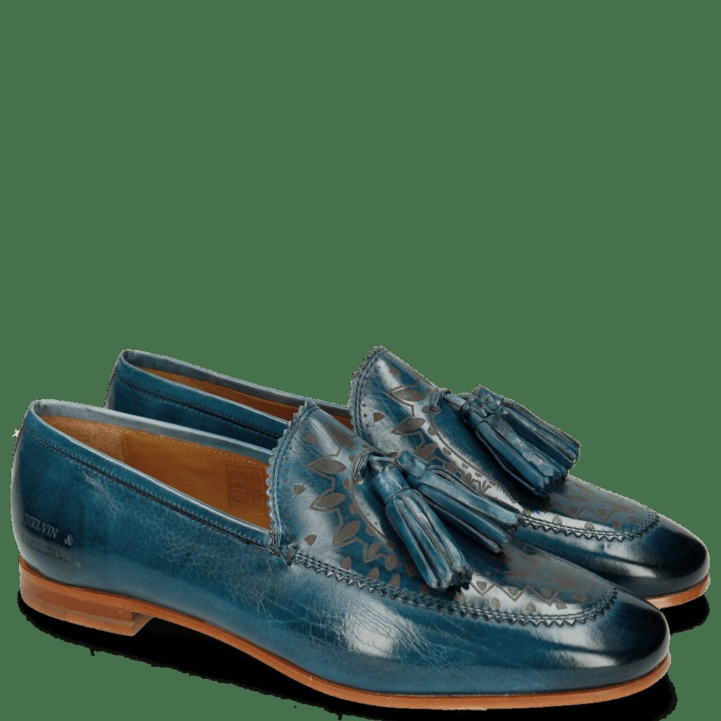 Loafers Scarlett 15 Mid Blue Lasercut