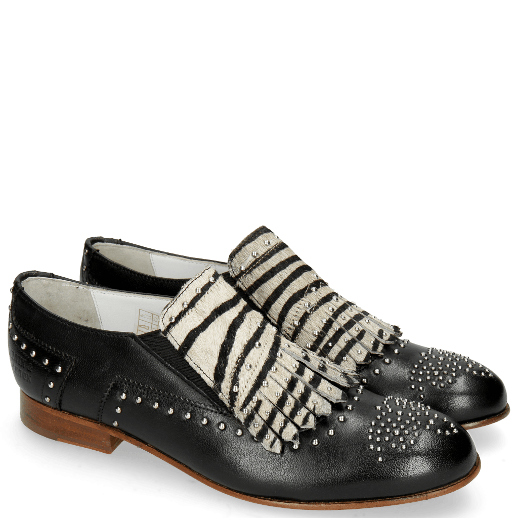 Loafers Sally 95 Glove Nappa Black Hairon Young Zebra