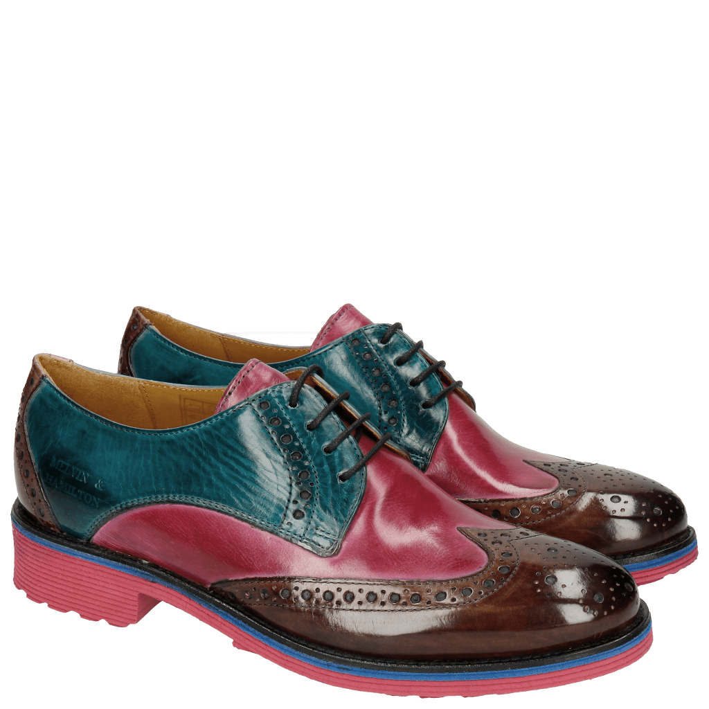 Derby Schuhe Amelie 3 Mink Dark Pink Turquoise Mink Rook D Fuxia