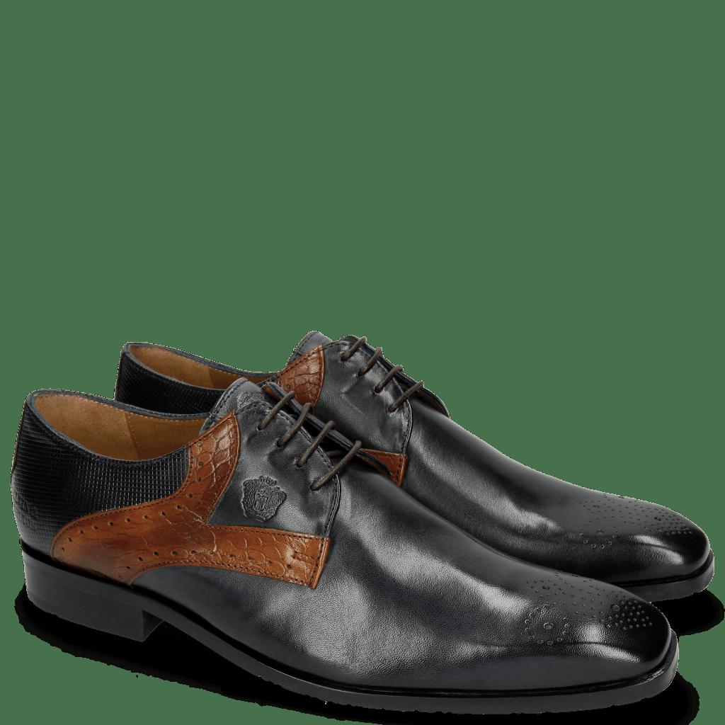 Derby Schuhe Rico 11 Rio Navy Croco Mid Brown Dice