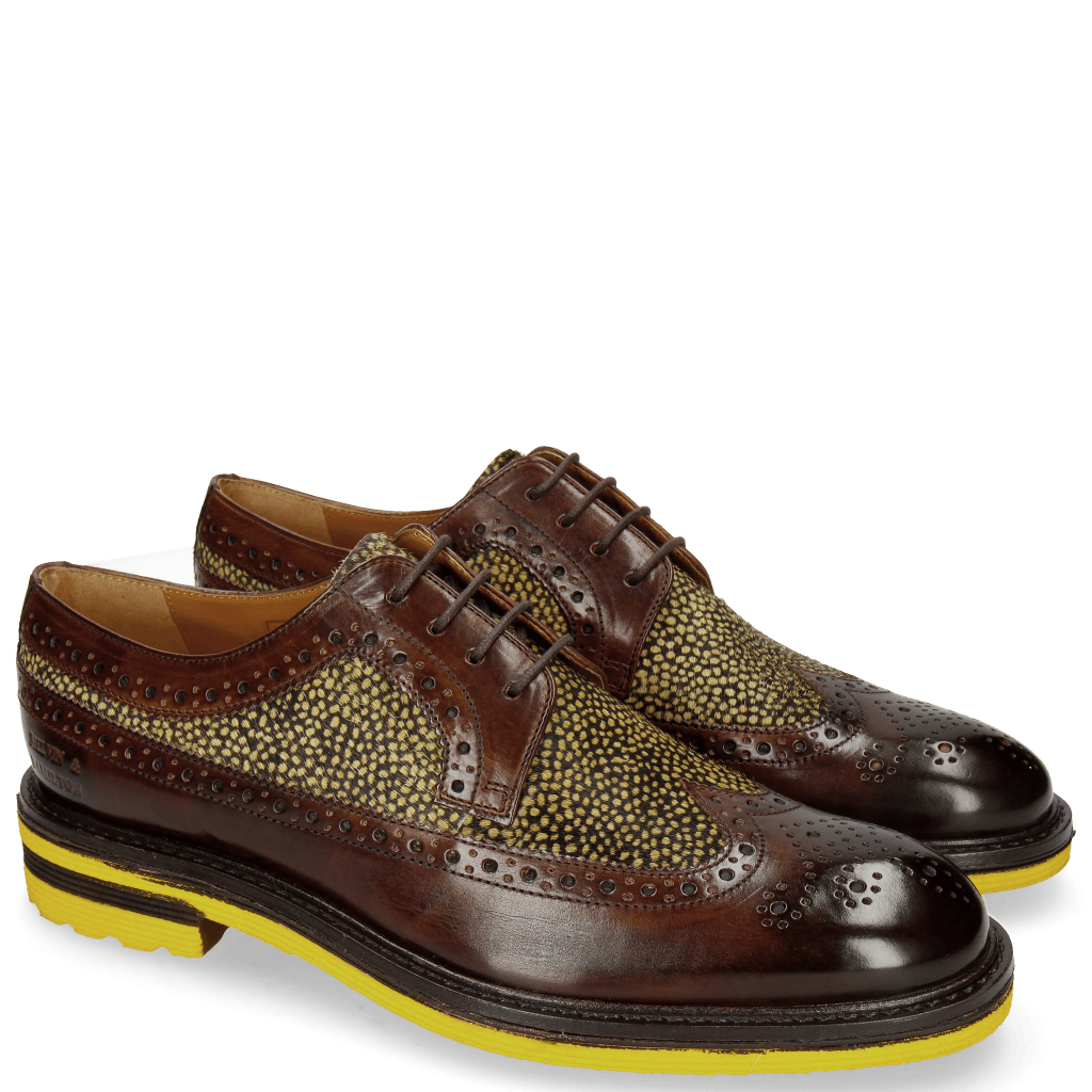 Derby Schuhe Trevor 10 Mid Brown Hairon Halftone New Grass